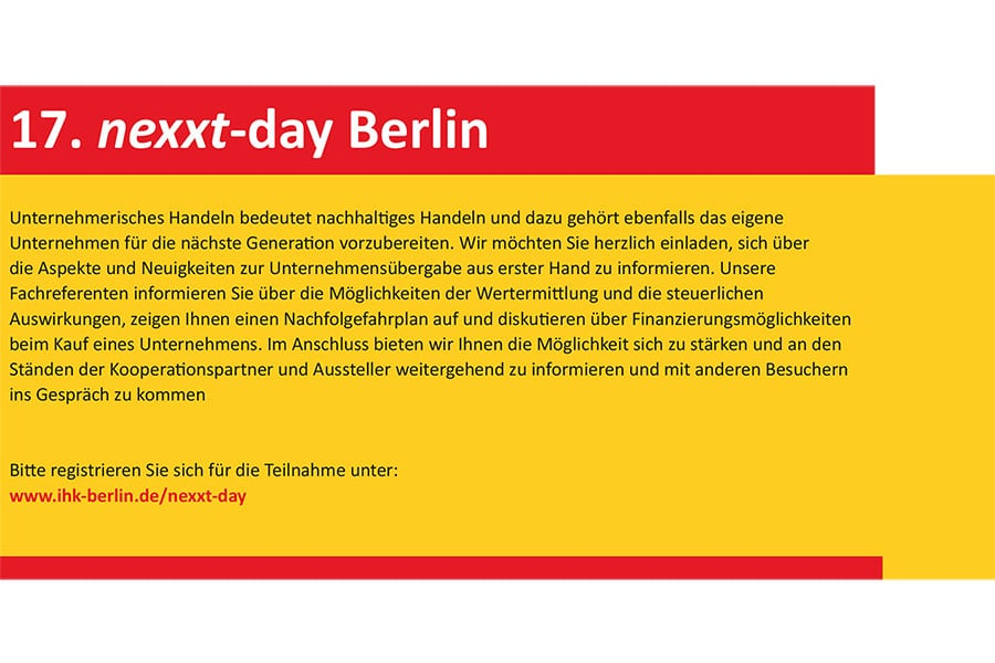 Der nexxt-day findet am 28.3.2017 in Berlin statt.