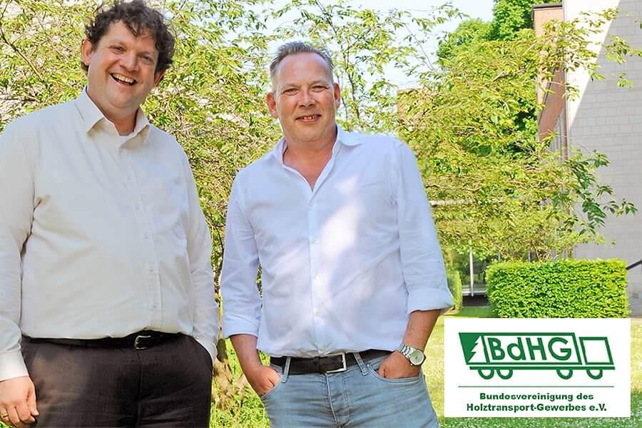 Herr Holger Wassermann und Herr Marco Burkhardt von der Bundesvereinigung des Holztransport-Gewerbes e.V. anlässlich des Themas Unternehmensnachfolge im Mittelstand